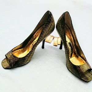 BCBG Snake Skin Leather Heel